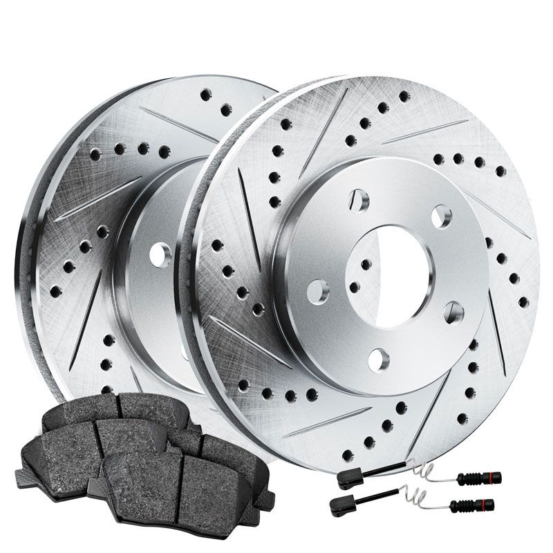 Fit 1994-1995 Mercedes-Benz E320 Rear Drill Slot Brake Rotors+Ceramic Brake Pads