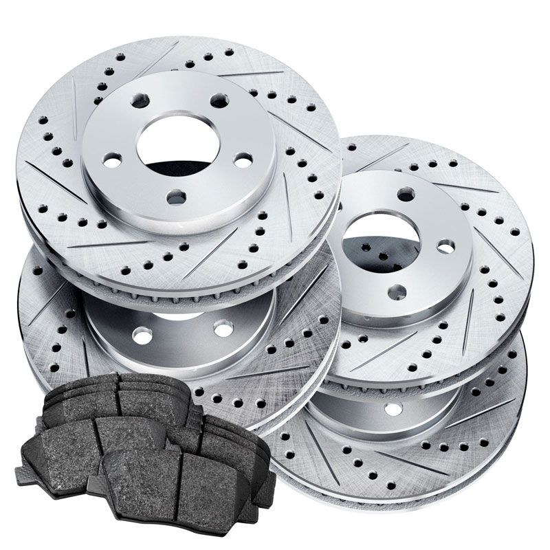 Honda CR-V 2005-2006 POWERSPORT BLACK DRILLED SLOTTED Brake Rotors FULL KIT
