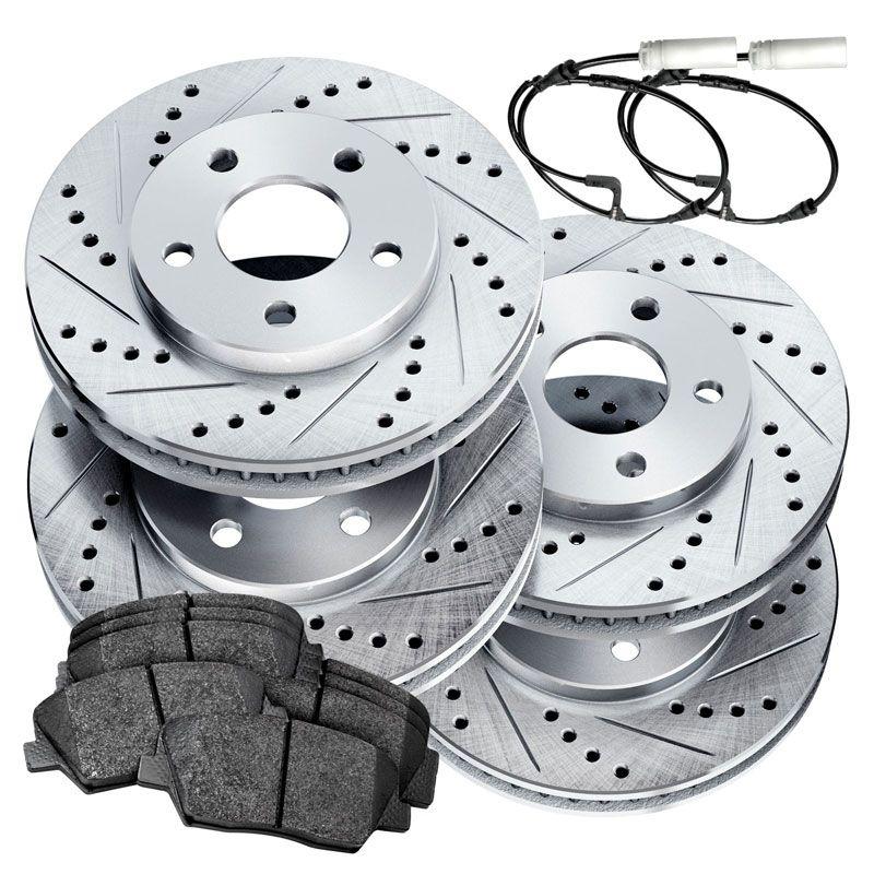 Fit 2003-2006 Porsche Cayenne Rear Black Slotted Brake Rotors+Ceramic Brake Pads