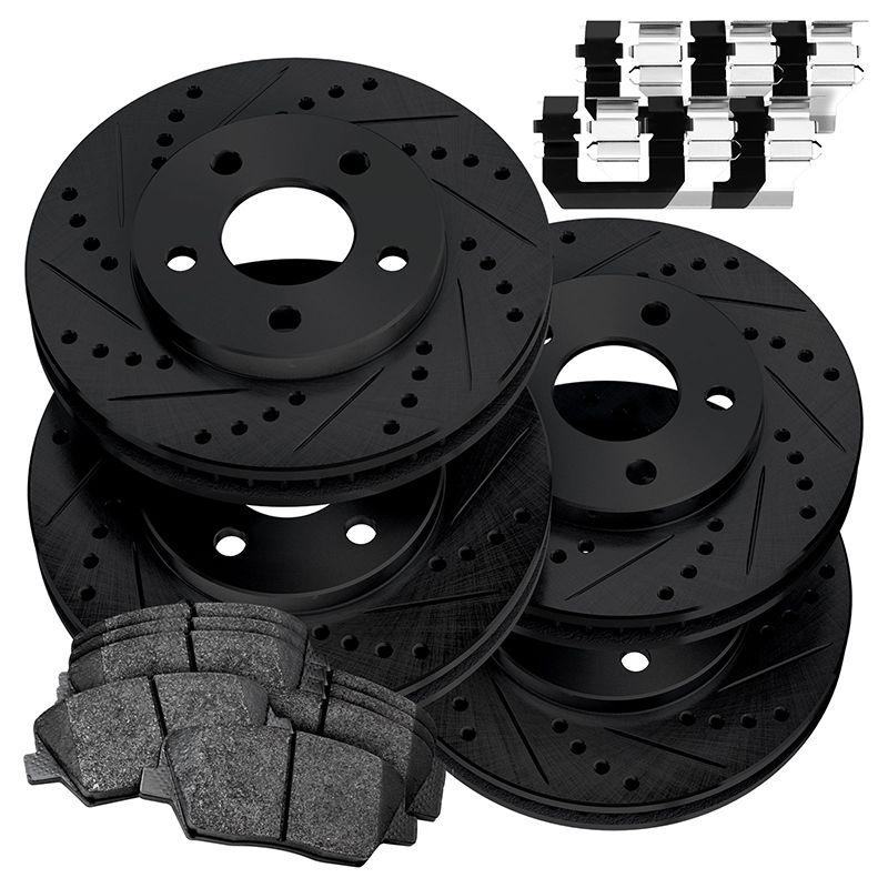 For 2014 Nissan Rogue Front Rear eLine Black Slotted Brake Rotors+Ceramic Pads