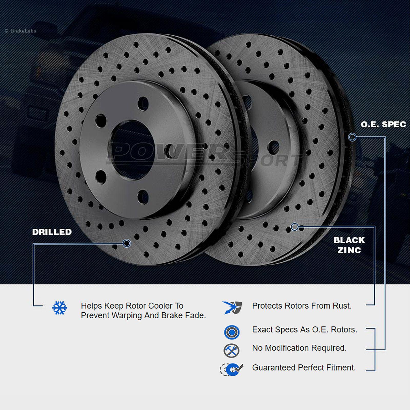 PowerSport Black CROSS DRILLED Rotors and Ceramic Pads BBXC.62112.02 FULL KIT