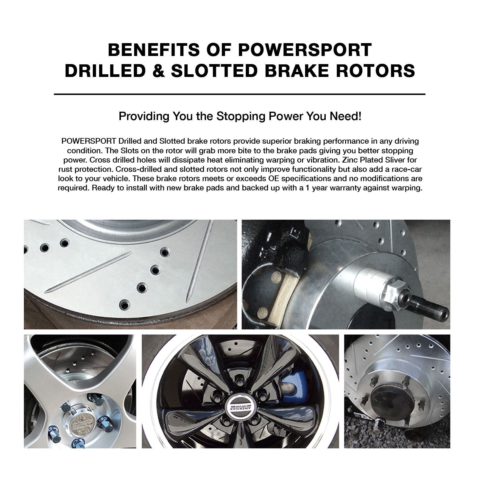 Fit 2006-2008 Toyota RAV4 Front Rear PSport Drilled Brake Rotors+Ceramic Pads