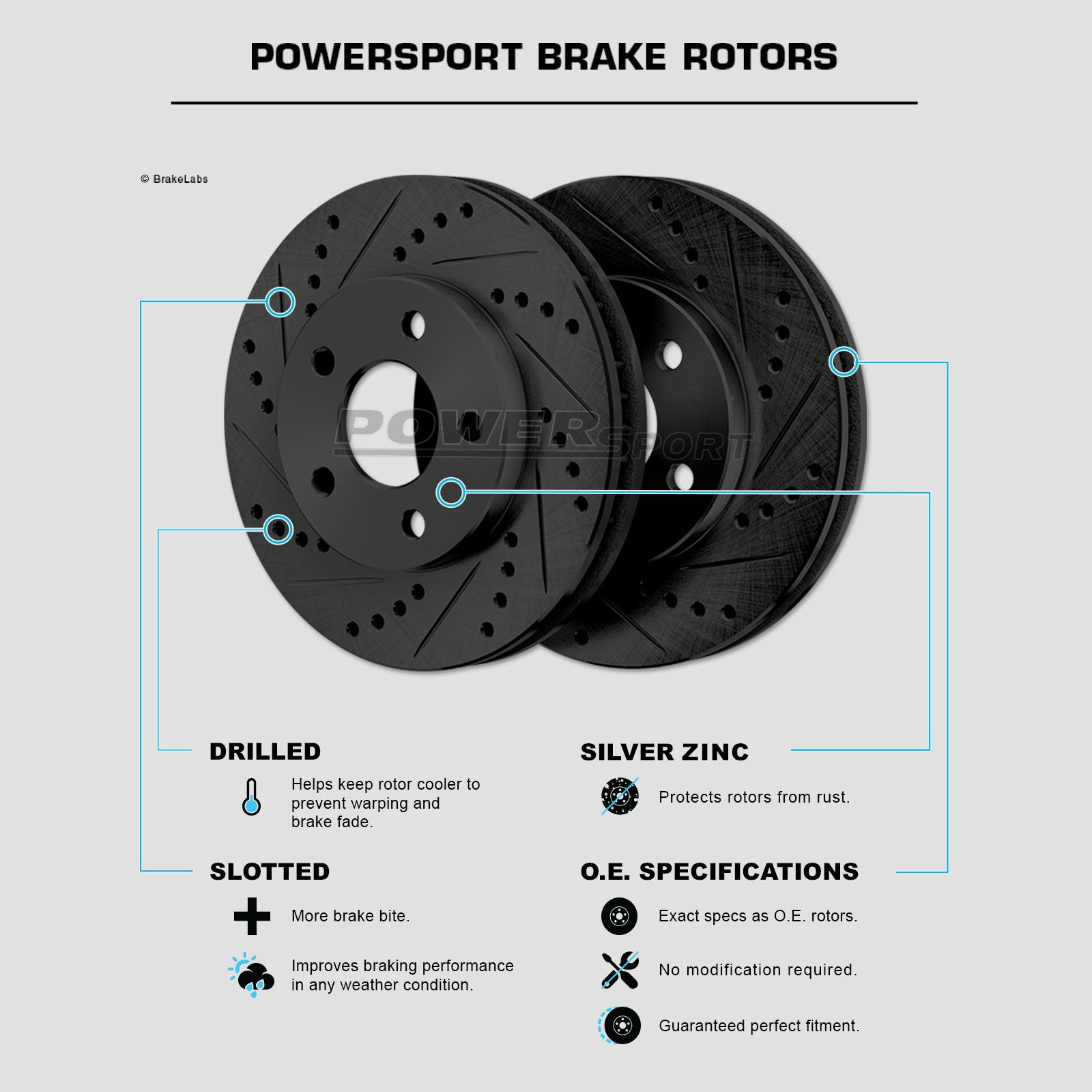 PowerSport Slotted Brake Rotors and Ceramic Pads BLSC.63065.02 FRONT+REAR