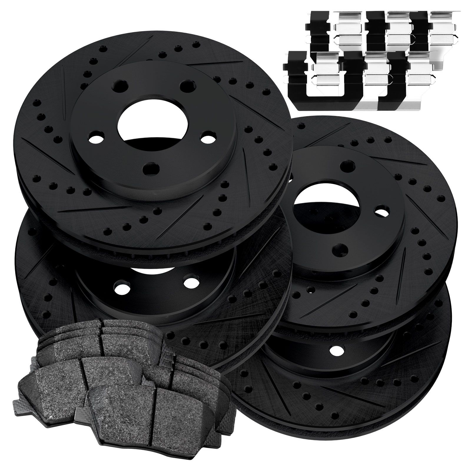Fit 2014-2015 Jeep Cherokee Front Black Drill Slot Brake Rotors+Ceramic Pads