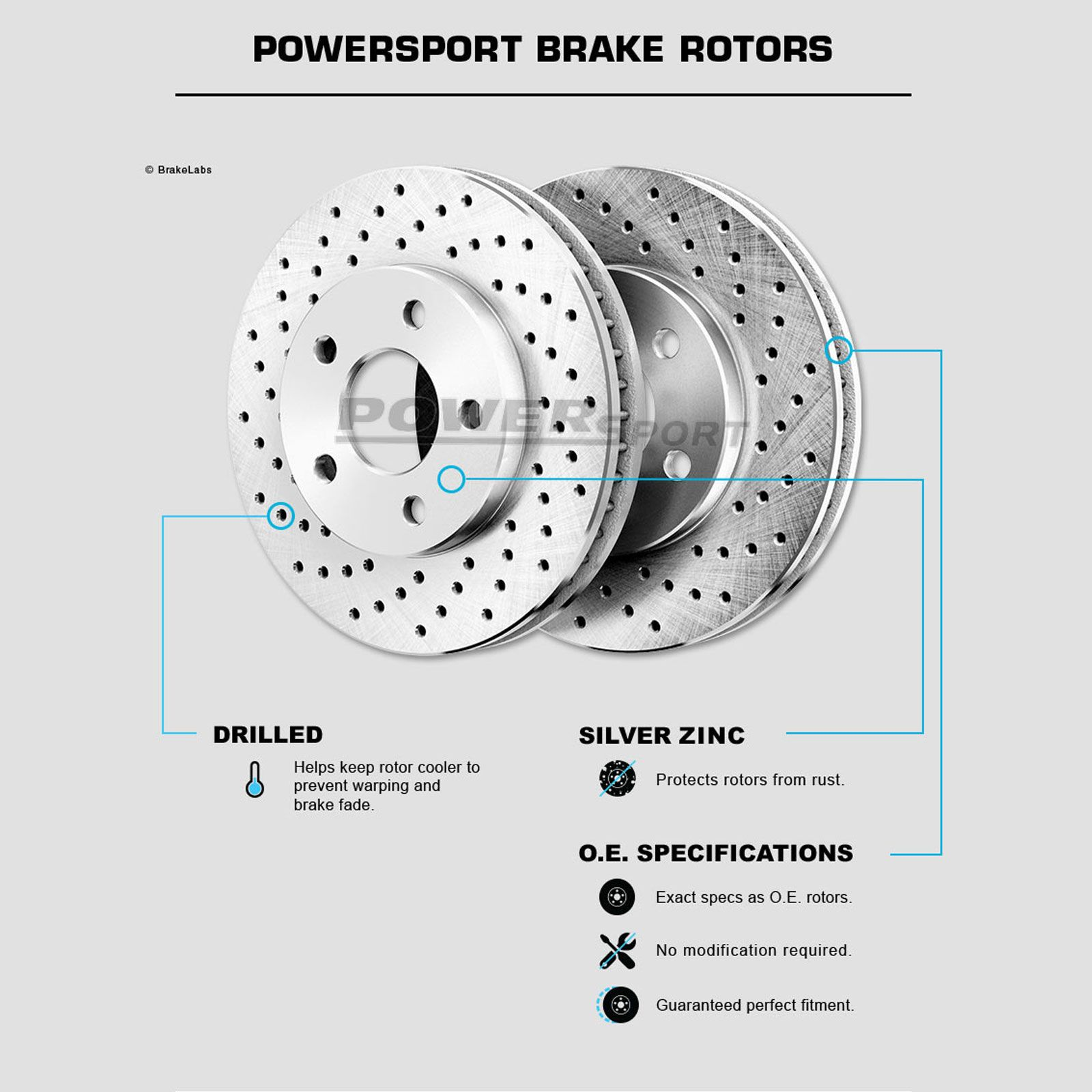 POWERSPORT BLACK *DRILLED ONLY* DISC BL14148 2 Front + 2 Rear Brake Rotors