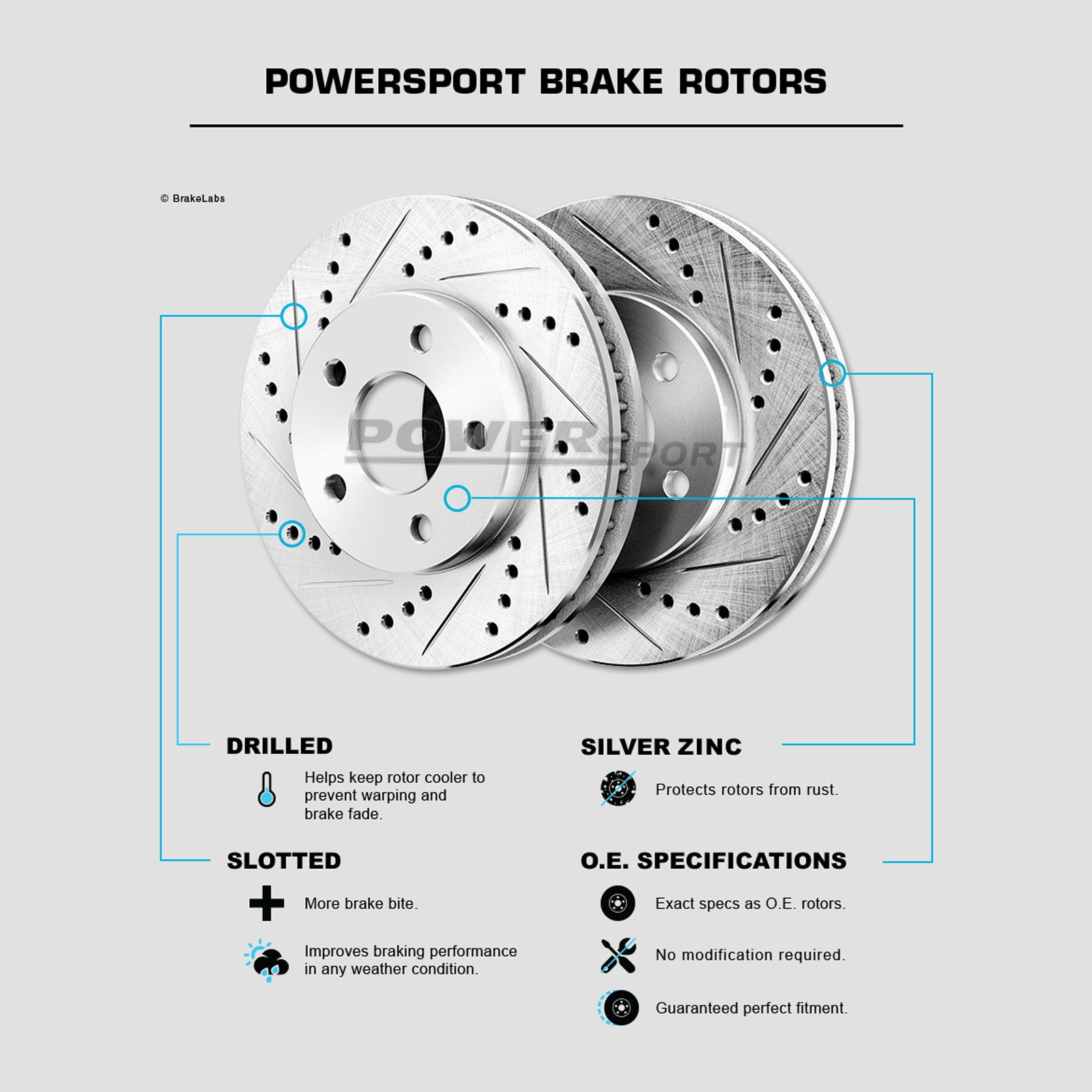POWERSPORT *DRILLED /& SLOTTED* DISC BF03639 2 Rear Brake Rotors