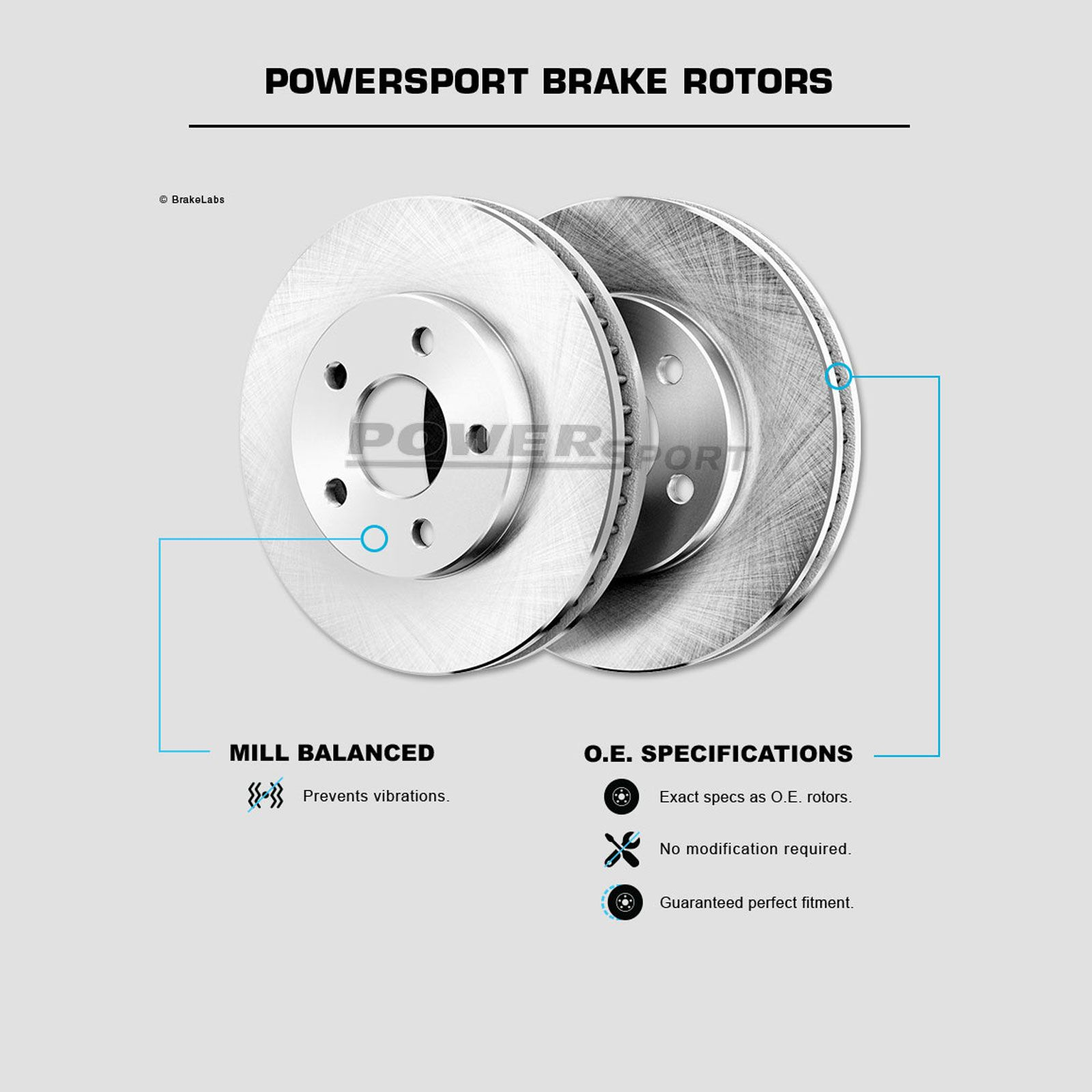 Ceramic Brake Pads Fit 2011 Mazda 2 Front PowerSport Blank Brake Rotors