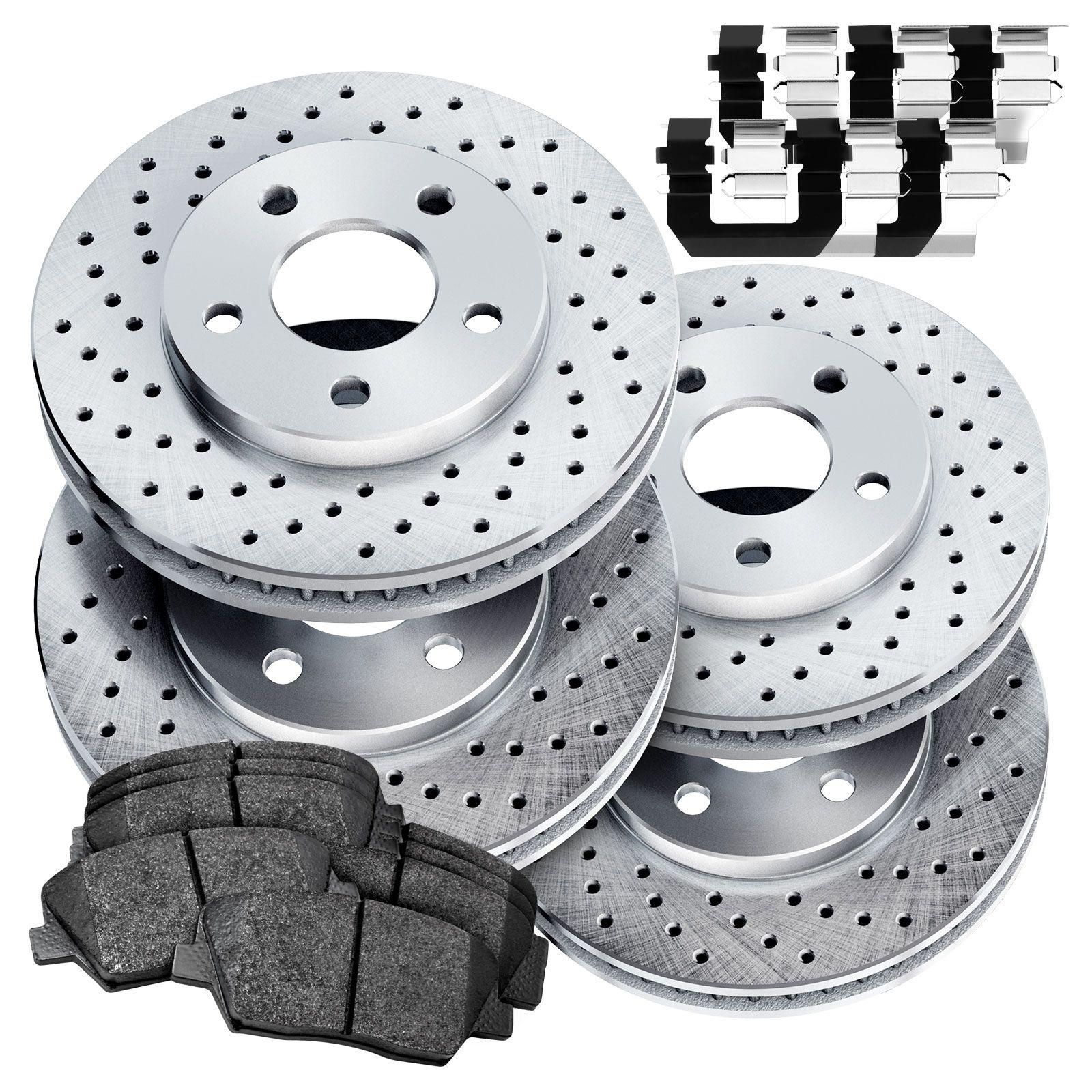 For 2009 Hyundai Elantra Front Rear Black Drilled Brake Rotors+Ceramic Pads