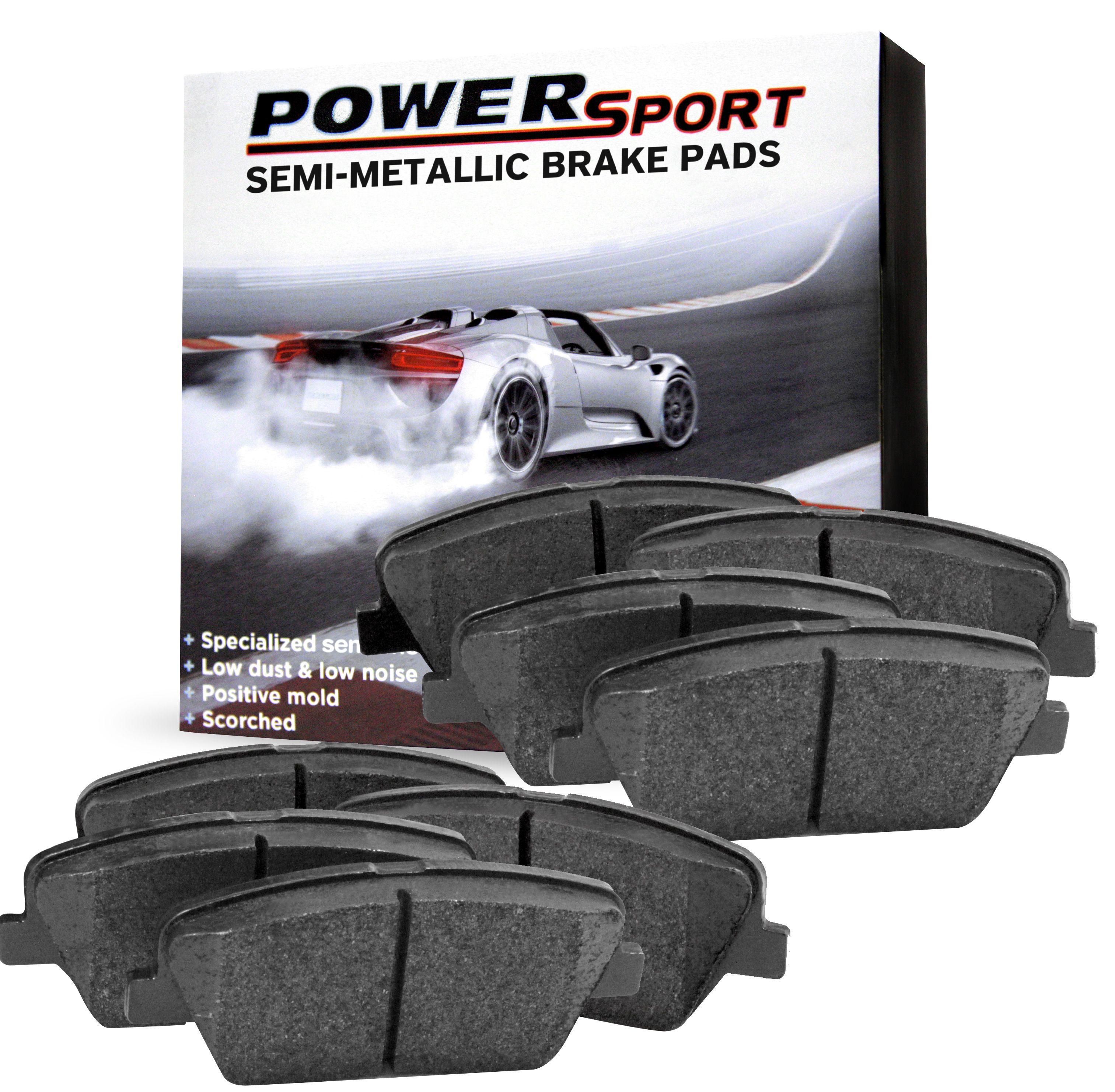 For 2005-2008 Jaguar X-Type PowerSport Front Rear Semi-Metallic Brake Pads