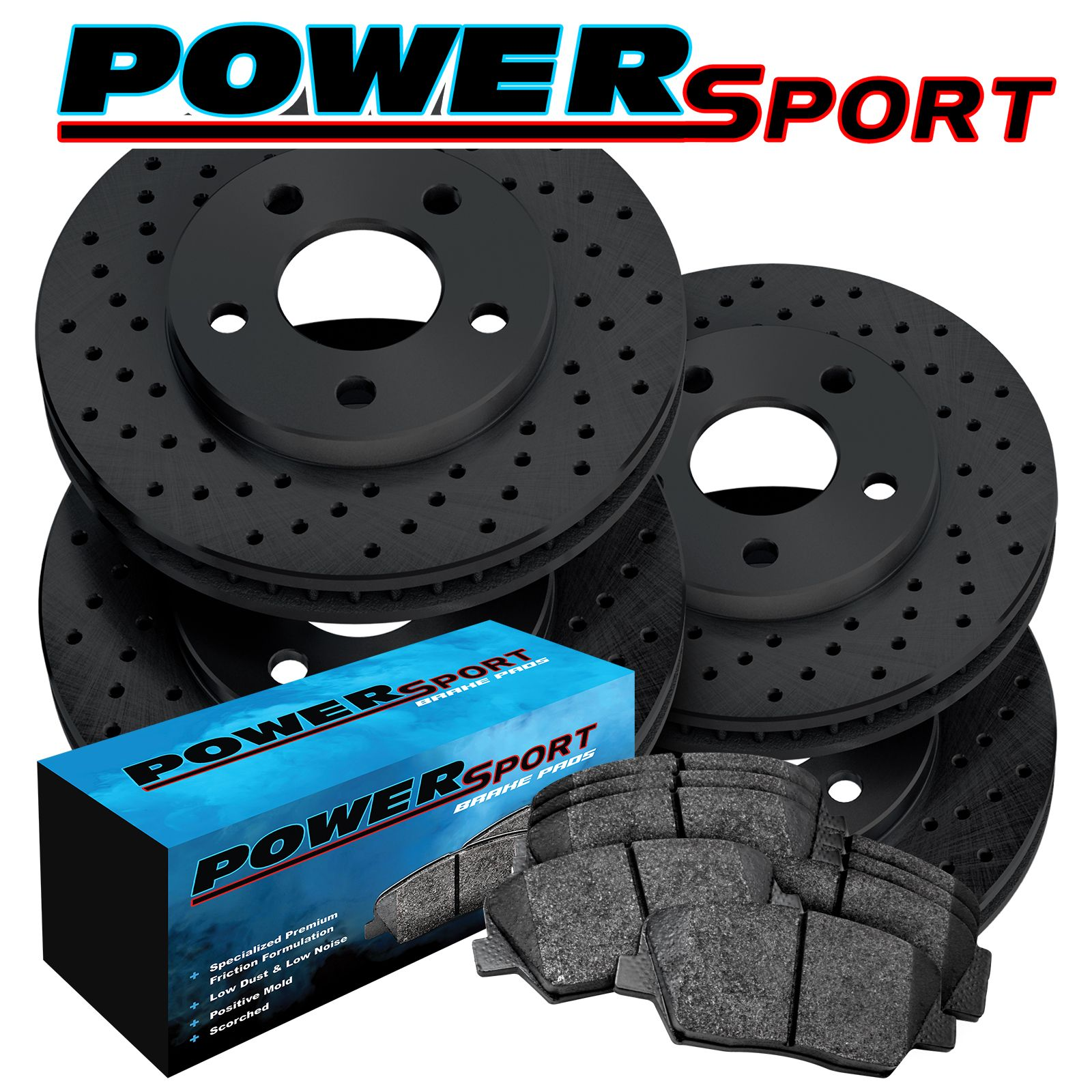 FRONT /& REAR BLACK DRILLED And SLOTTED BRAKE Rotors For 01-07 Toyota Sequoia
