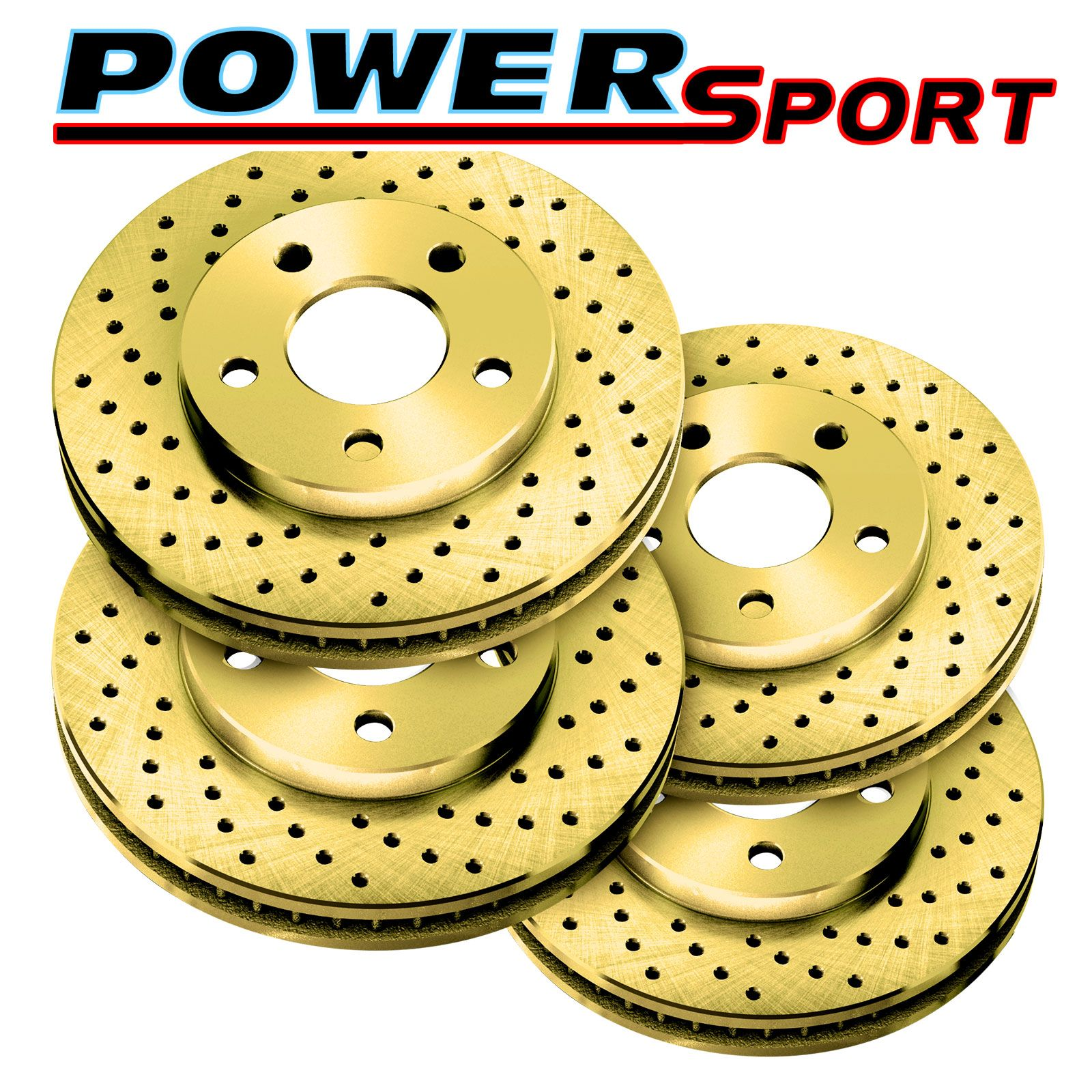 POWERSPORT BLACK *DRILLED /& SLOTTED* DISC BN15253 2 Front + 2 Rear Brake Rotors
