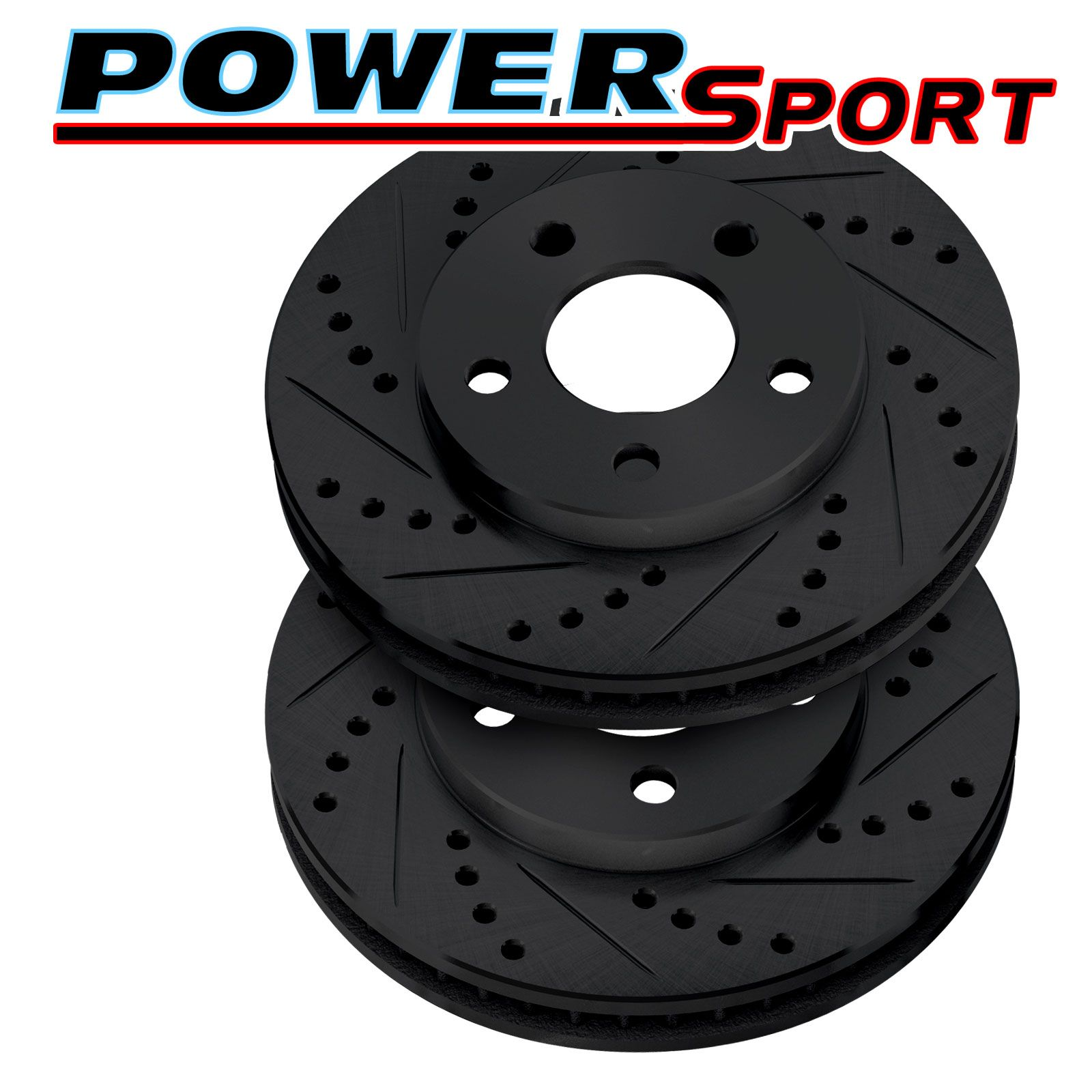 POWERSPORT BLACK *DRILLED /& SLOTTED* DISC BN10908 Brake Rotors 2 Front + 2 Rear