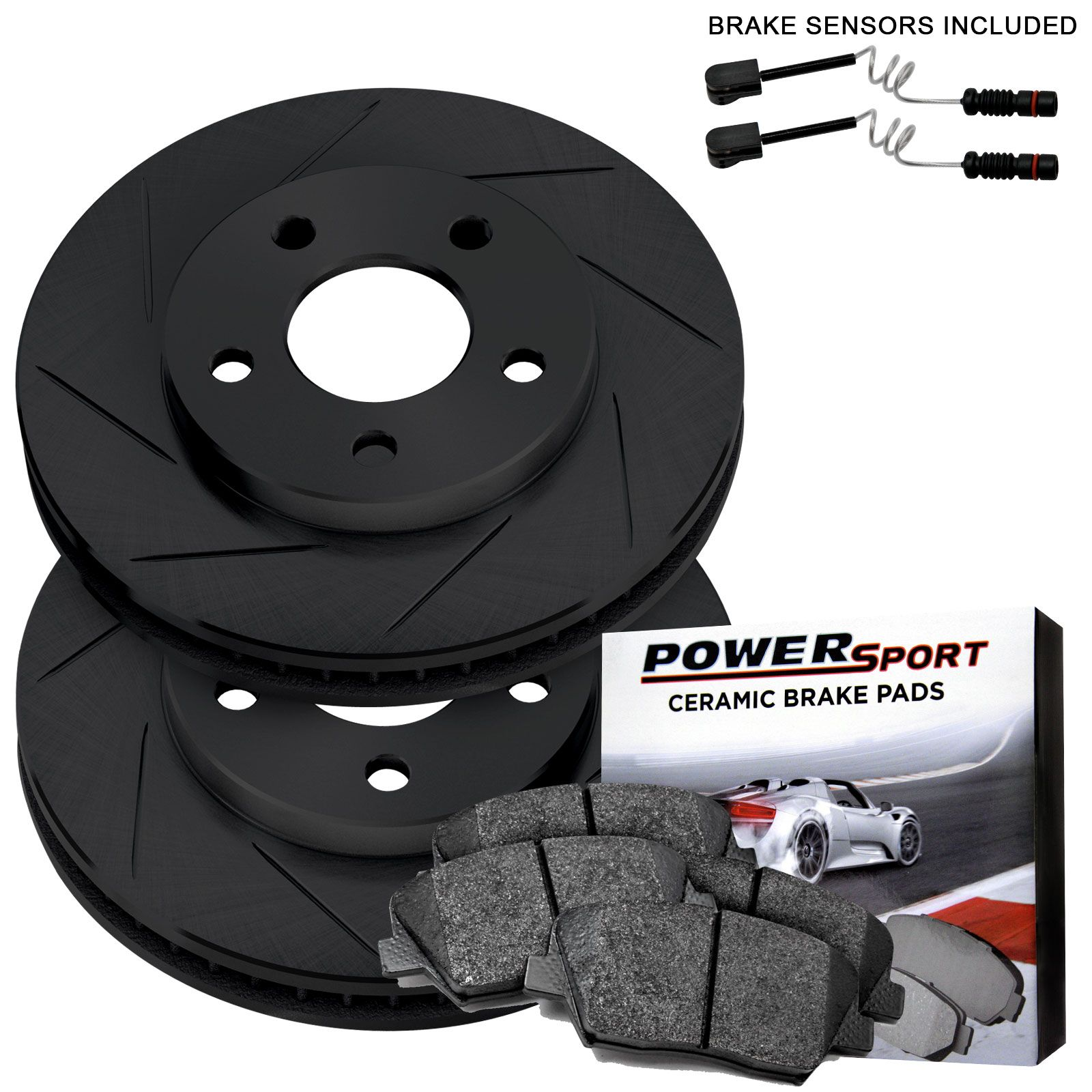Rear black slotted brake rotors and ceramic pads 1995 1995 for Mercedes benz rotors and pads